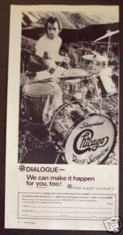 Chicago Drummer Danny Seraphine Photo Drum (1973)