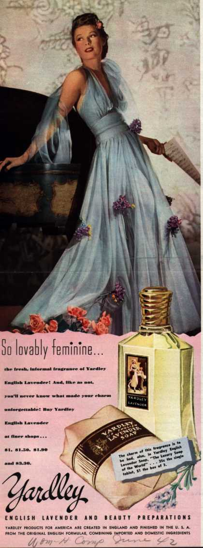 Yardley of London's English Lavender Cosmetics – So lovably feminine... (1942)