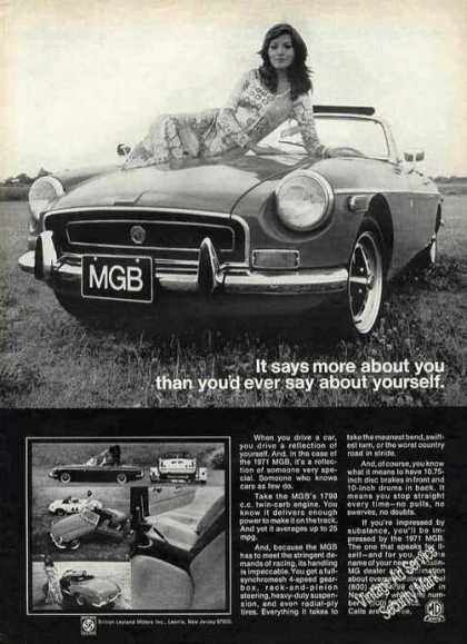 "Mgb ""It Says More About You"" Girl On Hood (1971)"