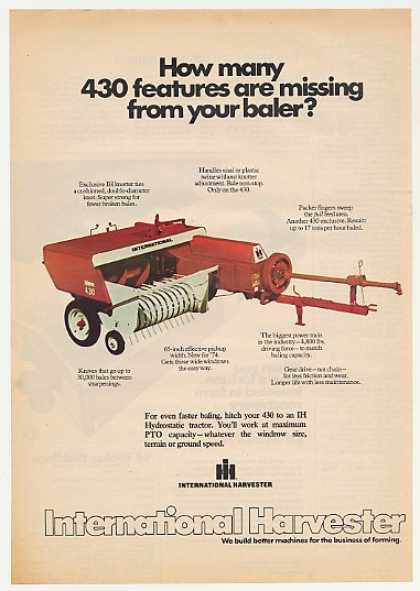 IH International Harvester 430 Baler Photo (1974)