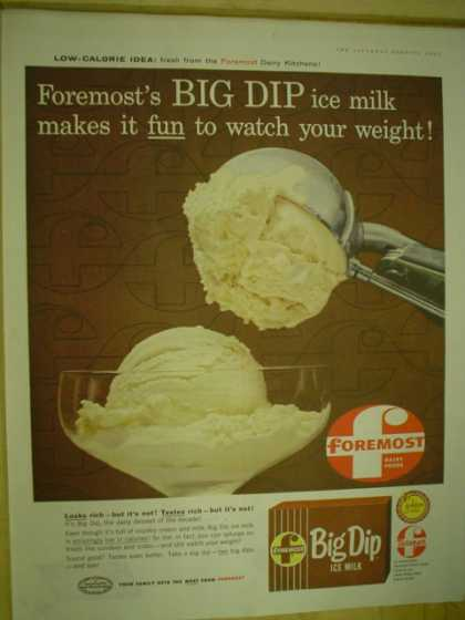 Foremost Big Dip iced milk. Ice cream. Fun to watch your weight (1959)