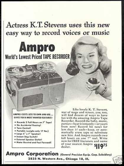 K T Stevens Photo Ampro Tape Recorder Vintage (1951)