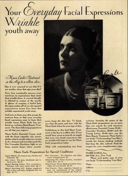 Marie Earle's Cosmetics – Your Everyday Facial Expressions Wrinkle youth away (1929)