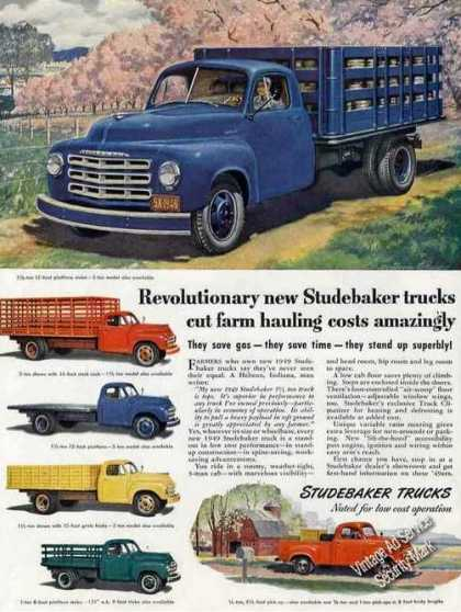 Studebaker Trucks for Farm Hauling Impressive (1949)