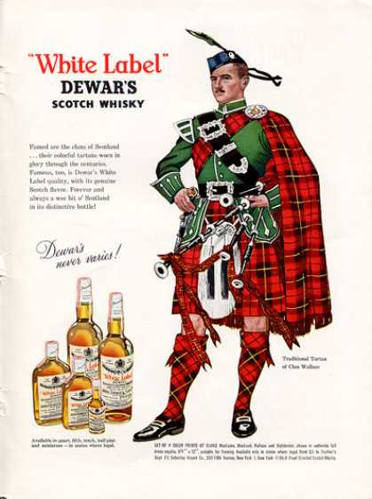 Dewars White Label Whisky Wallace Clan Bagpipes (1962)