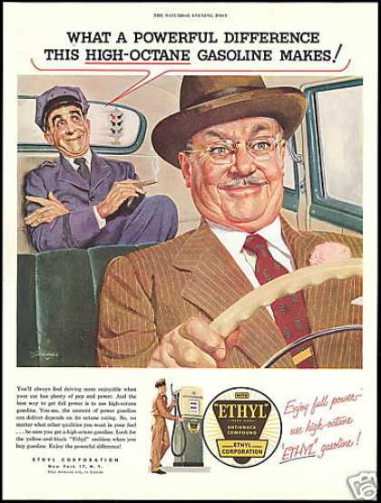 Ethyl Gasoline Limo Car Driver Art (1954)