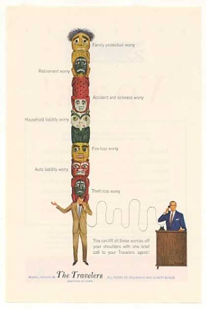 Man Totem Pole Worries The Travelers Insurance (1952)