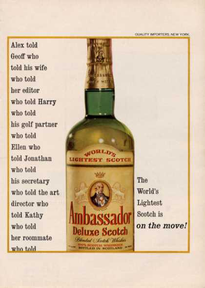 Ambassador Scotch Whisky Bottle (1964)