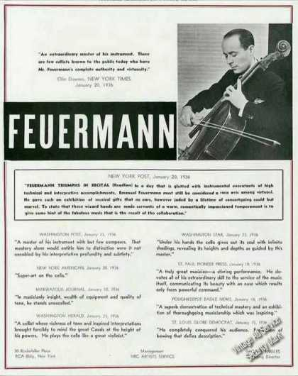 Emanuel Feuermann Photo Cellist Trade (1936)