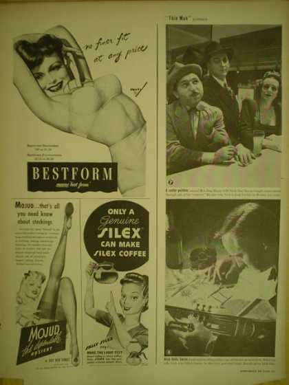 BestForm Bras AND Mojud Hosiery AND Silex coffee pot (1944)