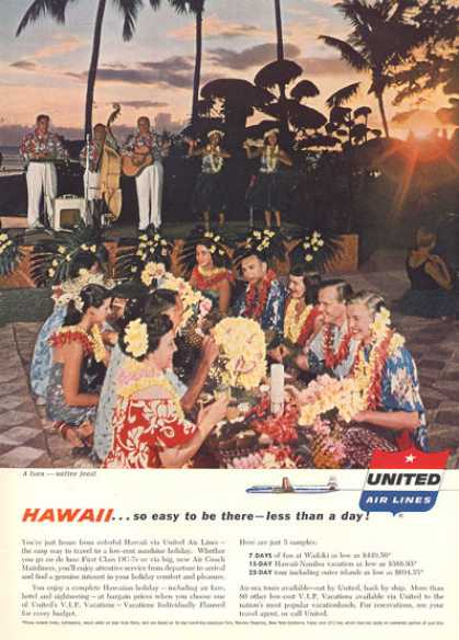 United Airlines Luau Hawaii Feast at Sunset (1957)