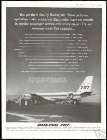 Boeing 707 Jetliner Airplane Records Photo (1960)