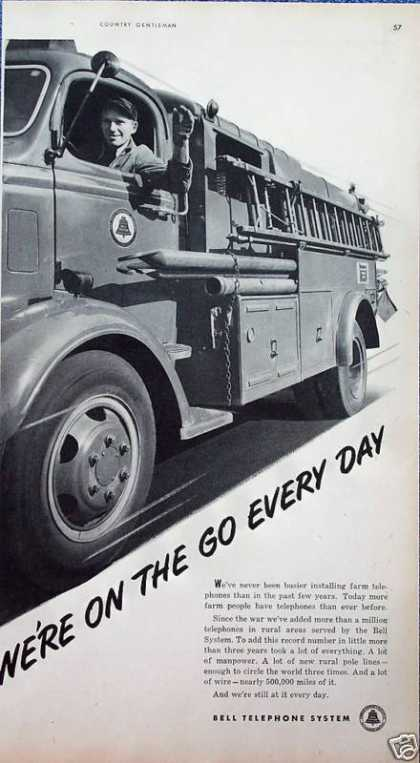 Bell Telephone Lineman Driving Truck On The Go (1949)