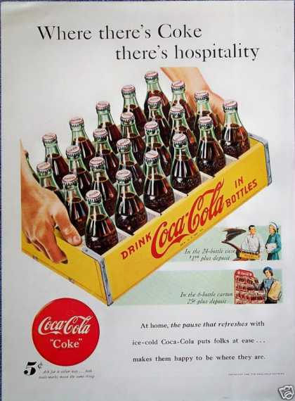 Coca Cola Coke Bottle Yellow Wooden Crate (1948)