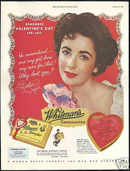 Elizabeth Taylor Photo Whitman's Chocolate (1952)
