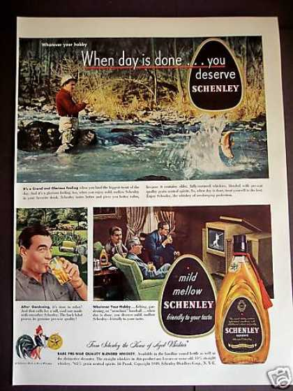 Trout Fishing Photo Schenley Reserve Whiskey (1949)