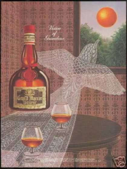 Grand Marnier Liqueur Lace Bird Art (1985)