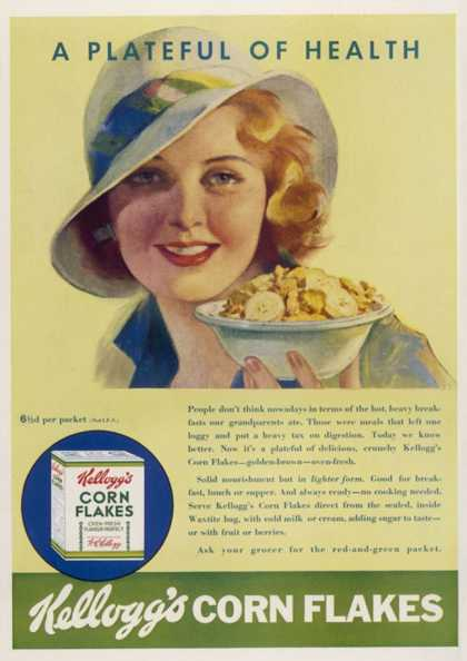 An Advertisement for Kelloggs Cornflakes: a Plateful of Health