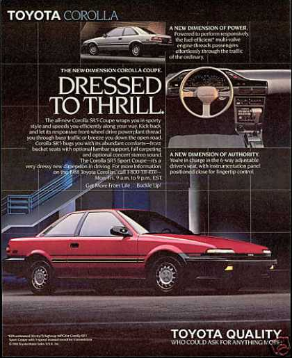 Toyota Corolla SR5 SR-5 Coupe Photo Print Car (1988)