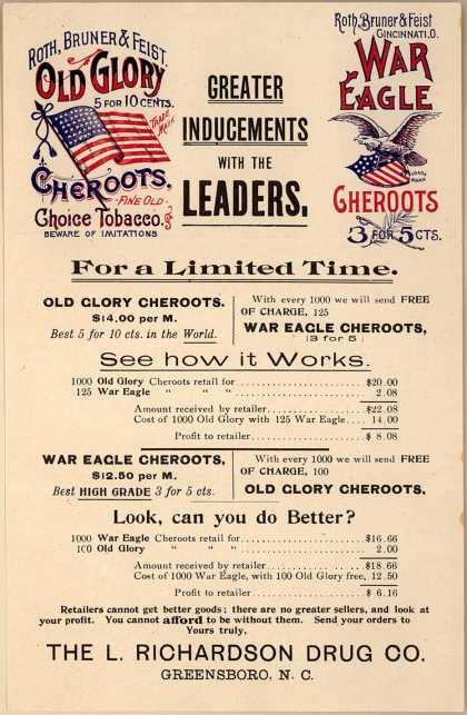 Roth, Brunner & Feist's Cheroots – Old Glory & War Eagle Cheroots
