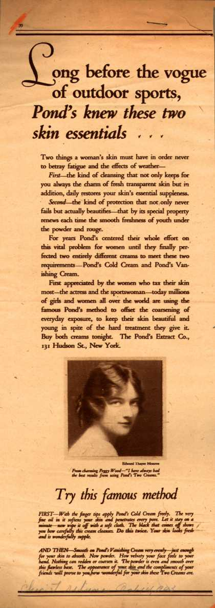 Pond's Extract Co.'s Pond's Cold Cream and Vanishing Cream – Long before the vogue of outdoor sports, Pond's knew these two skin essentials (1923)