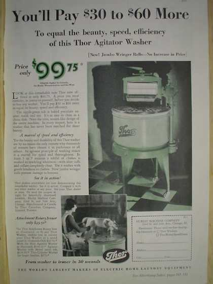 Thor electric laundry equipment Clothes washer and ringer (1930)