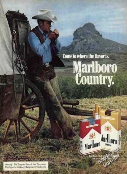 Marlboro Cowboy Leaning Against Wagon Cigarette (1975)