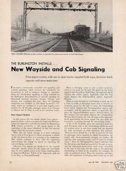 """New Wayside and Cab Signaling"" Article/cb&q (1954)"