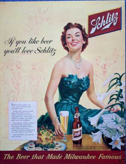 Schlitz Beer Lady Green Evening Gown Dress Love (1954)