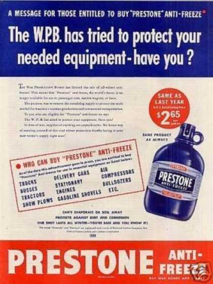 Prestone Anti-freeze (1943)