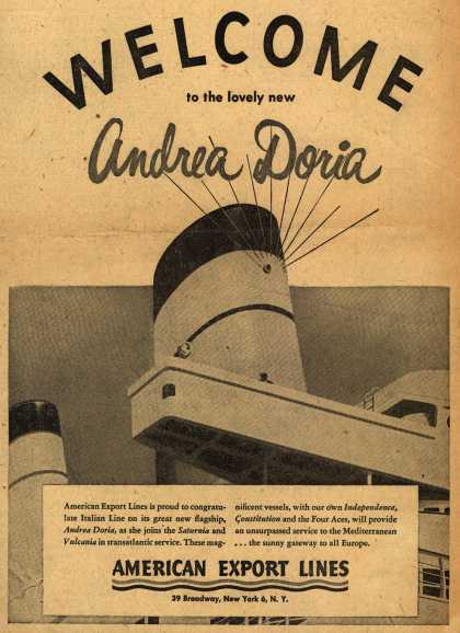 American Export Line's Andrea Doria – WELCOME to the lovely new Andrea Doria (1953)