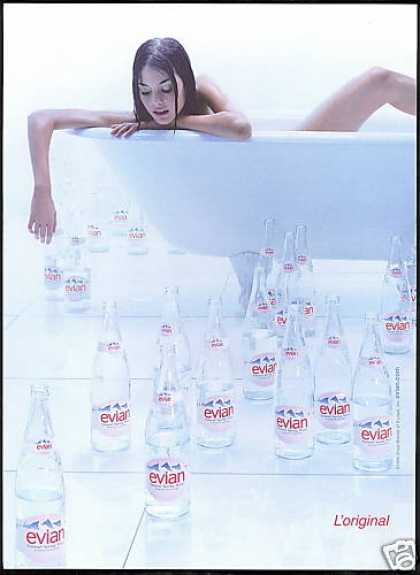 Evian Water Claw Foot Tub Nude Woman Photo (1999)