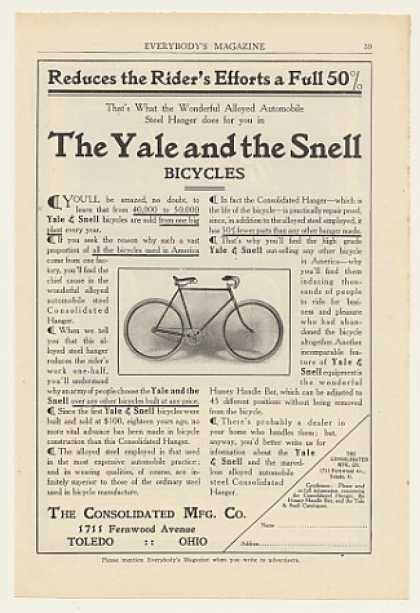 Yale and Snell Bicycle Consolidated Mfg Toledo (1908)