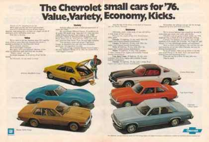 Chevrolet Small Cars for – Value, Variety, Economy, Kicks (1976)