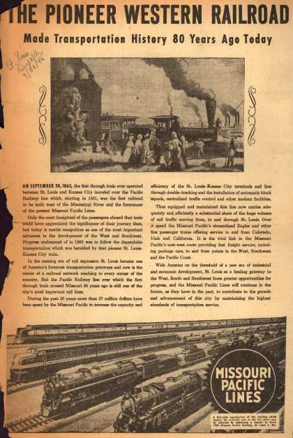 Missouri Pacific Lines – The Pioneer Western Railroad Made Transportation History 80 Years Ago Today (1945)