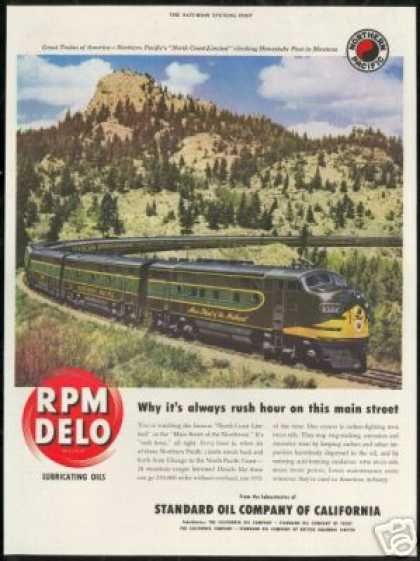 Northern Pacific Train Railroad Photo RPM Oil (1950)