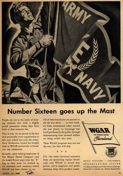 "WGAR, Cleveland's Broadcast of 16th Army Navy ""E"" presentation – Number Sixteen goes up the Mast (1943)"