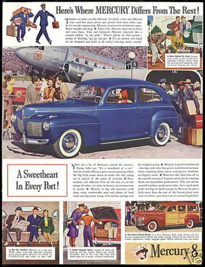 Mercury 8 Sedan Woody Wagon TWA Airlines Plane (1941)
