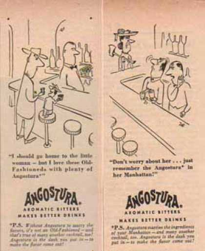 Angostura Aromatic Bitters – Set of 2 – Comic Cartoon (1952)