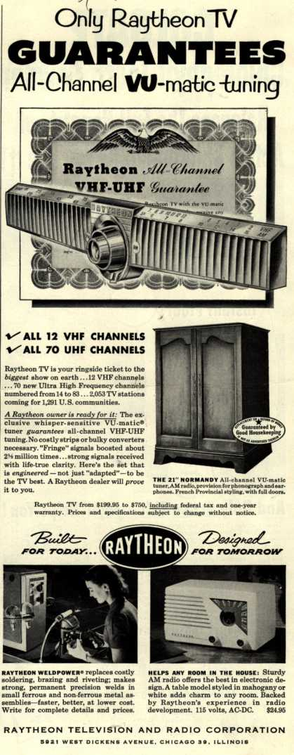 Raytheon Television and Radio Corporation's Various – Only Raytheon TV Guarantees All-Channel VU-matic tuning (1952)