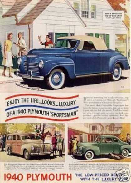 Plymouth Cars Color Ad 3 Models (1940)