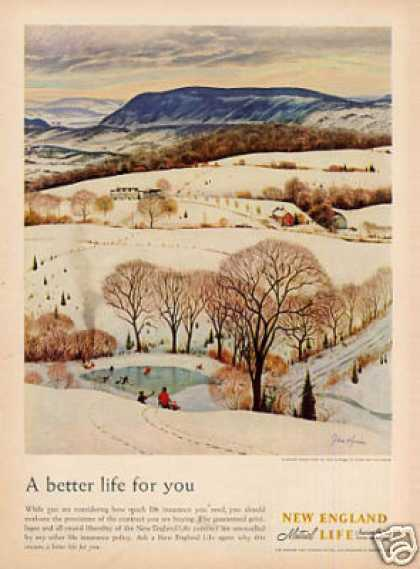 New England Life Insurance Ad John Clymer Art (1958)