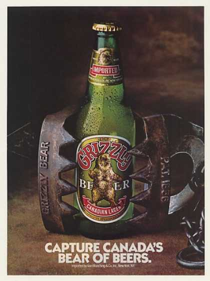 Grizzly Canadian Lager Beer Bottle in Bear Trap (1985)
