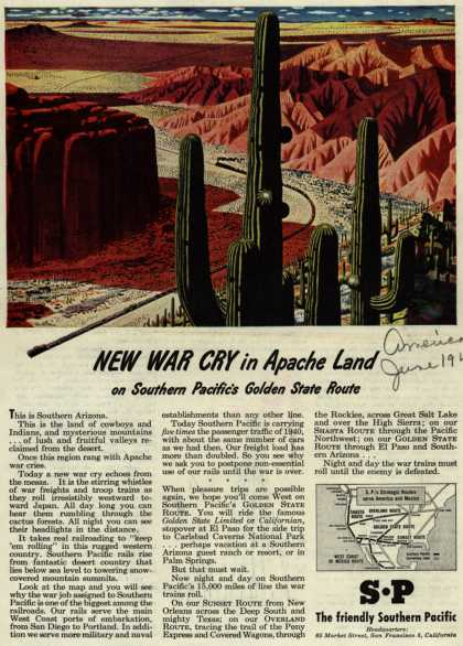 Southern Pacific's Golden State Route – New War Cry in Apache Land (1945)