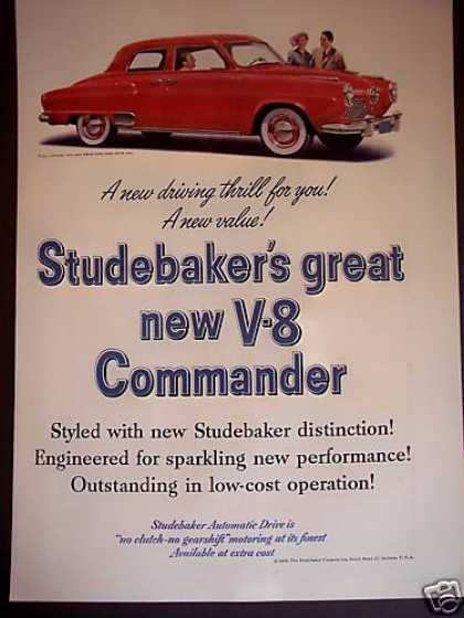 Studebaker V-8 Commander Red Car Photo (1950)