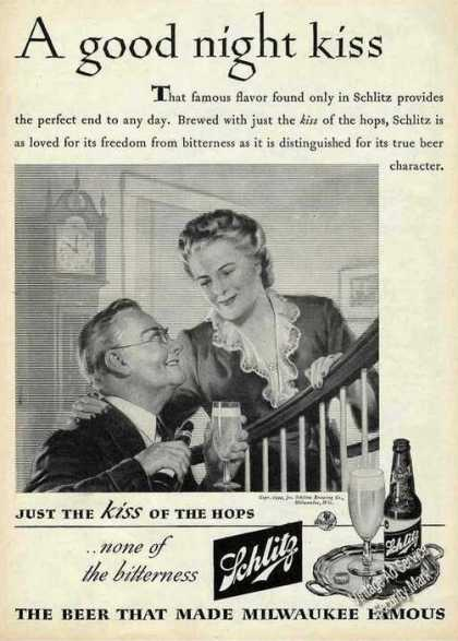 Schlitz Just the Kiss of the Hops Rare Beer (1944)