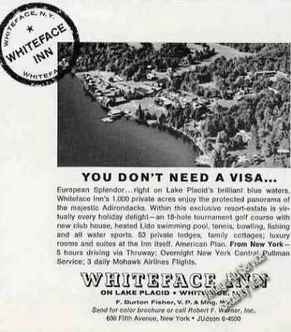 Aerial View Whiteface Inn Lake Placid Ny (1964)