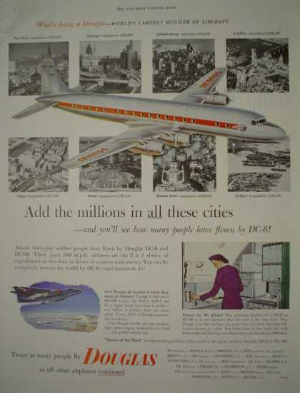 Douglas Airlines Airplane Largest builder of aircraft planes (1953)