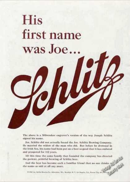 "Schlitz Beer ""His First Name Was Joe"" (1961)"