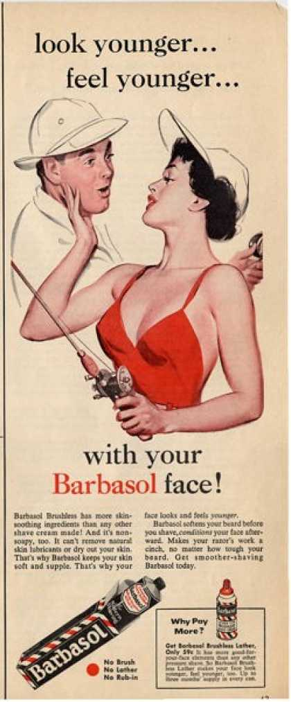 Barbasol Pretty Woman Fishing Rod Ad T (1956)